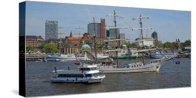 Elbe River at Landing Stages, Hamburg, Germany, Europe