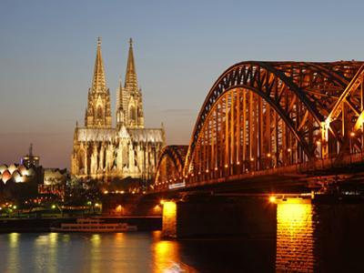 Hohenzollern Bridge over the River Rhine and Cathedral, UNESCO World Heritage Site, Cologne, North  by Hans Peter Merten