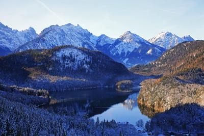 Lake Alpsee near Hohenschwangau and Tannheimer Alps, Allgau, Bavaria, Germany, Europe