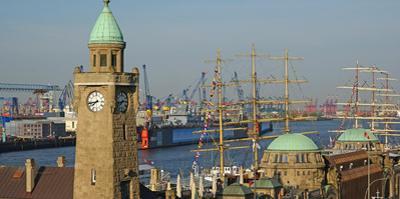 Landing Stages, Elbe River, Hamburg, Germany, Europe