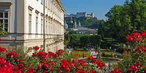 Mirabell Gardens against Fortress Hohensalzburg, Salzburg, Austria, Europe by Hans-Peter Merten