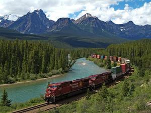 Morants Curve, Bow River, Canadian Pacific Railway, Near Lake Louise, Banff National Park, UNESCO W by Hans Peter Merten