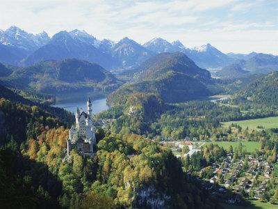 Neuschwanstein and Hohenschwangau Castles, Alpsee and Tannheimer Alps, Allgau, Bavaria, Germany