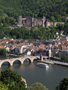 Old Bridge over the River Neckar, Old Town and Castle, Heidelberg, Baden-Wurttemberg, Germany, Euro by Hans Peter Merten
