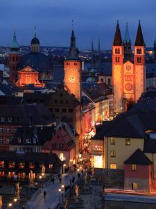 Old Town with Cathedral and Old Main Bridge, Wurzburg, Franconia, Bavaria, Germany, Europe by Hans Peter Merten