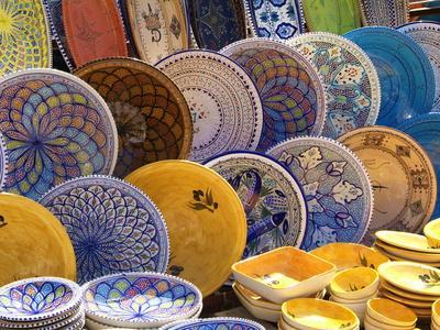 Pottery Products in Market at Houmt Souk, Island of Jerba, Tunisia, North Africa, Africa