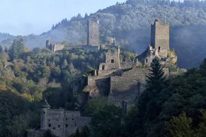 Ruins of Oberburg and Niederburg Castles, Manderscheid, Eifel, Rhineland-Palatinate, Germany, Europ by Hans-Peter Merten