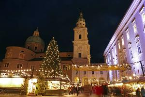 Salzburg Cathedral and Chrismas Market at Residenzplatz Square, Salzburg, Austria, Europe by Hans-Peter Merten