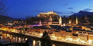 View from Kapuzinerberg Hill towards old town, Salzburg, Austria, Europe by Hans-Peter Merten