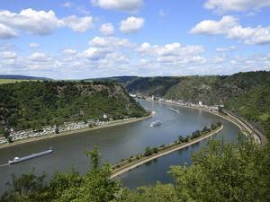View from Loreley to St. Goarshausen and the River Rhine, Rhine Valley, Rhineland-Palatinate, Germa by Hans Peter Merten