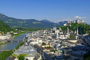 View from Moenchsberg Hill across Salzach River with Cathedral, Collegiate Church and Fortress Hohe by Hans-Peter Merten