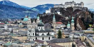 View from Monchsberg Hill towards old town, Salzburg, Austria, Europe by Hans-Peter Merten