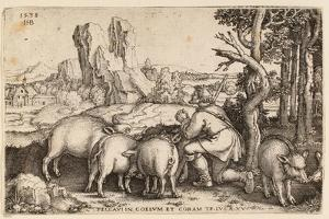 The Prodigal Son with the Swine, 1538 by Hans Sebald Beham