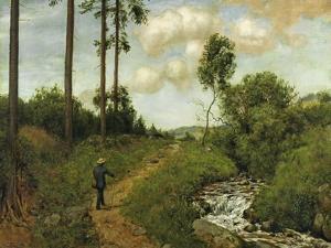 Hiker in the Black Forest (Der Wanderer Im Schwarzwald), 1891 by Hans Thoma