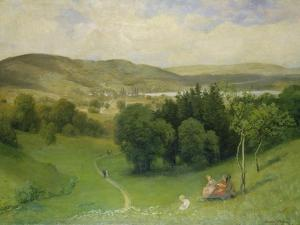 Offenes Tal (Landschaft) by Hans Thoma