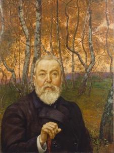 Self-Portrait in a Birch Grove by Hans Thoma