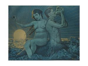'Triton and Nereide', 1895 by Hans Thoma