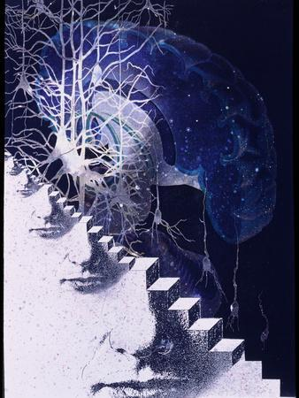 Conceptual Art of Brain & Nerve Cells In