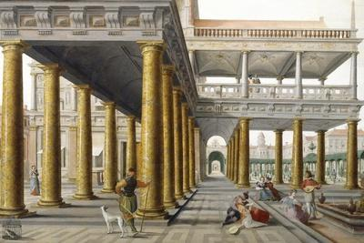 Palace Court, Detail from Fantastic Architectural View with Figures, 1568