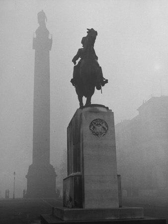Foggy View of Monuments in Trafalgar Square, London