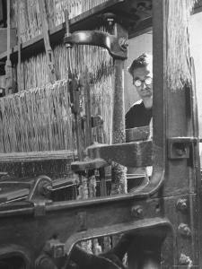 Power Loom at Work Making a Haircord Carpet at the Wilton Carpet Factory by Hans Wild