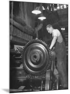 Power Loom at Work Making an Axminster Carpet at the Wilton Carpet Factory by Hans Wild