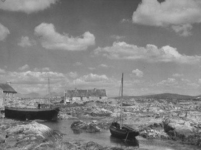 View of Galway in Ireland, a Little Harbor at Carna