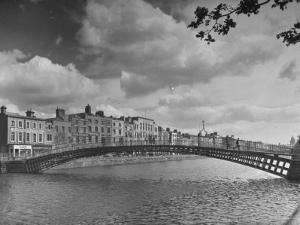 View of the Liffey River and the Metal Bridge in Dublin by Hans Wild