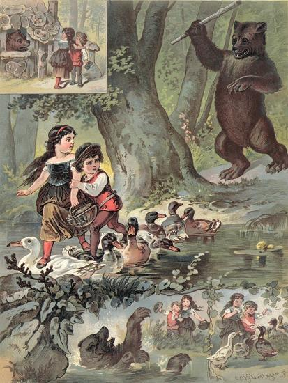 Hansel and Gretel in the Forest, c.1880-Carl Offterdinger-Giclee Print