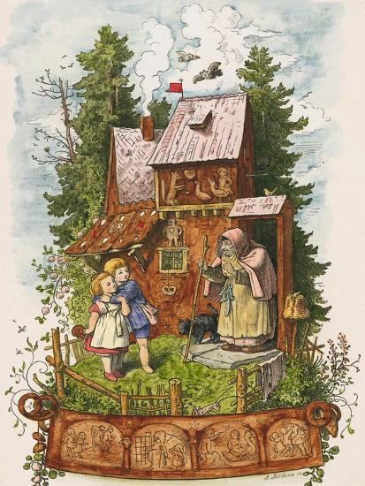 Hansel and Gretel Outside the Gingerbread House Giclee