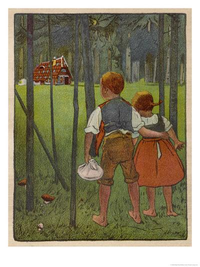 Hansel and Gretel See a Pretty Cottage in the Distance and Think They Might Shelter There-Willy Planck-Giclee Print