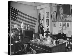 Fred Bays Sitting at His Desk at the Democratic State Headquarters by Hansel Mieth