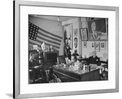 Fred Bays Sitting at His Desk at the Democratic State Headquarters