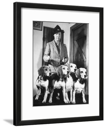 Mrs. William Dupont Jr. Holding Reins of Four Beagles That Belonged to Her Late Husband