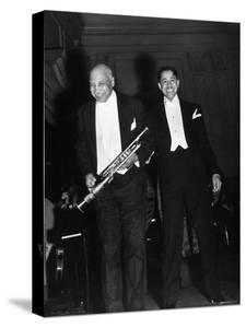 Singer Cab Calloway Standing on Stage with Composer W. C. Handy by Hansel Mieth