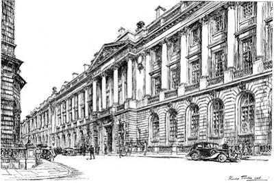 The Exterior of the Rac Clubhouse in Pall Mall, London, 1946 by Hanslip Fletcher