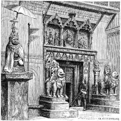 Hanuman Gate of the Royal Palace, Kathmandu, Nepal, 1895-C Goutzwiller-Giclee Print