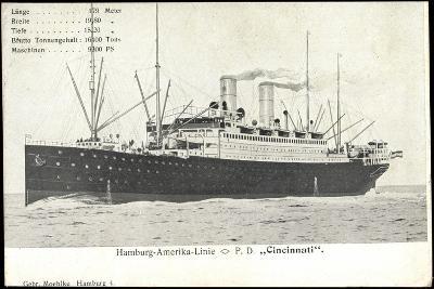 Hapag, Dampfschiff Cincinnati, Transantlantik--Giclee Print