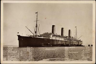 Hapag, Dampfschiff Imperator Mit Techn. Angaben--Giclee Print