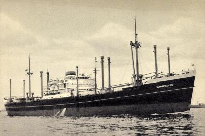 Hapag, Dampfschiff M.V. Sommelsdyk Nah Am Ufer--Giclee Print