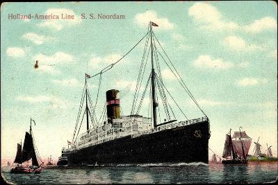 Hapag, S.S. Noordam, Dampfschiff, Segelboote--Giclee Print