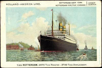 Hapag, T.S.S Rotterdam, Dampfschiff Am Hafen--Giclee Print