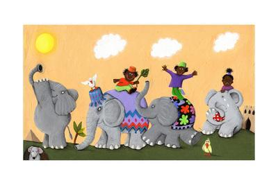 Happy and Sad African Elephants and Children-andreapetrlik-Art Print
