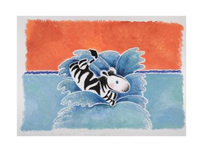Happy Baby Zebra Jumping into Water-Susie Jenkin Pearce-Art Print