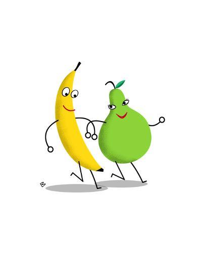 Happy Banana and Pear Walking Arm in Arm--Art Print