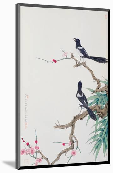 Happy Birds in Plum Tree-Hsi-Tsun Chang-Mounted Premium Giclee Print