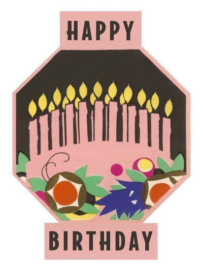 Happy Birthday, Cake Motif--Art Print