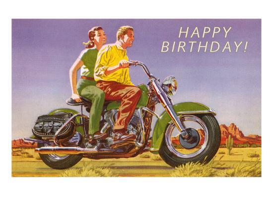 Happy Birthday Couple On Motorcycle Art Print By