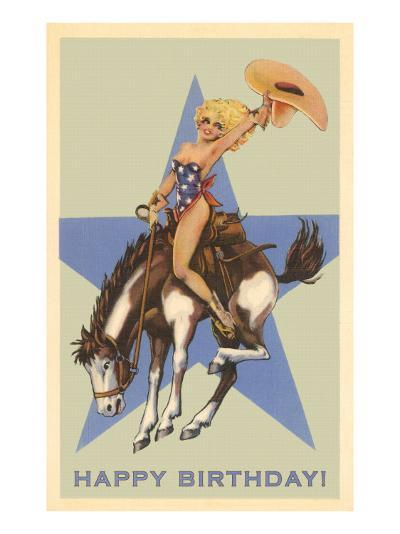 Happy Birthday, Cowgirl on Bronco--Art Print