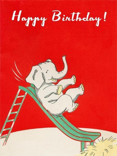 Happy Birthday, Elephant on Slide--Art Print